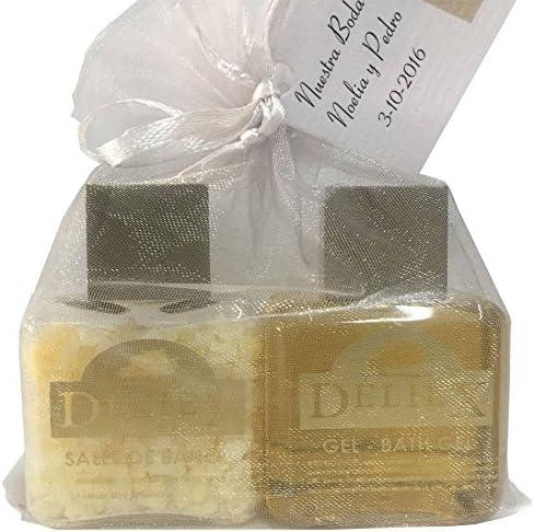 Detalle de gel de baño corporal y sales de baño en bolsita de organza para regalar (Pack 24 ud): Amazon.es: Hogar