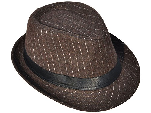 [AshopZ Unisex Classic Teardrop-Dent Pinstriped Short Brim Fedora Cap, Brown] (Mafia Themed Costume)