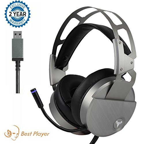 Stereo Gaming Headset for PC Mac Laptop Tablet, Bass Over-Ear Wired Computer Headphones with Mic, LED Lights and Volume Control,Crystal Clear Sound, Noise-canceling, Silver