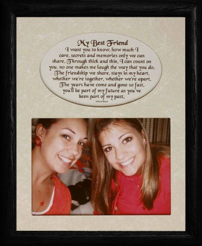 8x10 MY BEST FRIEND ~ Photo & Poetry BLACK Frame w/Cream Matboard ~ Holds a Landscape 5x7 Photo! (BLACK)