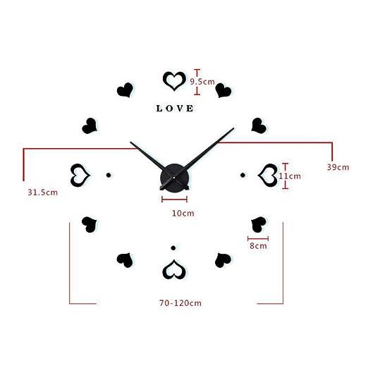 Amazon.com: BHXUD Wall Clock, DIY Creative Love Clocks Mute Decorative Wall Clock,Silver: Home & Kitchen