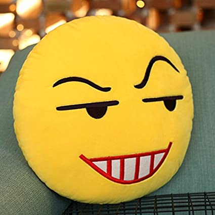 Plush 28cm (11 inch) Emoji Emoticon Yellow Round Cushion Stuffed Throw Pillow (Raised