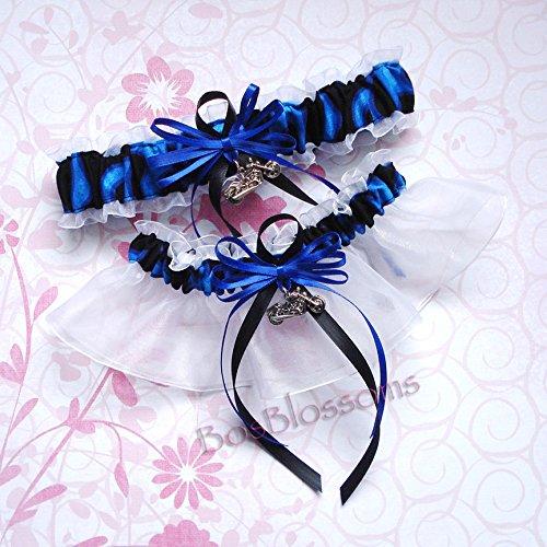 Customizable handmade - Motorcycle charms - Cool blue flames & white organza wedding bridal keepsake garter set ()