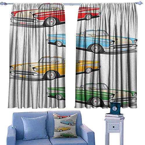 ParadiseDecor Manly Rods Curtains Collection of Four Classic Car Roadsters Old Fashioned Transportation Illustration,Blackout Drapes for Living Room,W42 x L45 Inch