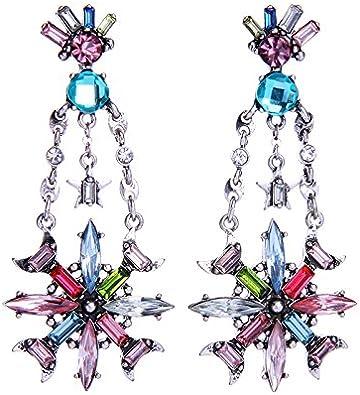 Pendientes de la diosa de las señoras de las piedras preciosas coloreadas Pendientes de la flor de cristal de la joyería salvaje de la personalidad de la moda europea y americana