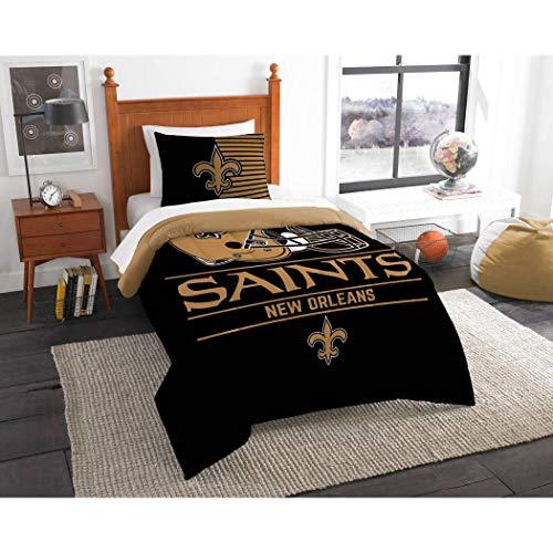 2 Piece NFL Saints Comforter Twin Set, Black Gold Multi Football Themed Bedding Sports Patterned, Team Logo Fan Merchandise Athletic Team Spirit Fan, Polyester, For Unisex
