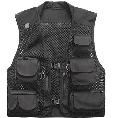 Outdoor Quick-Dry Fishing Vest; Marsway Multi Pockets Mesh Vest Fishing Hunting Waistcoat Travel Photography Jackets Black X-Large (Black Hunting Vest)