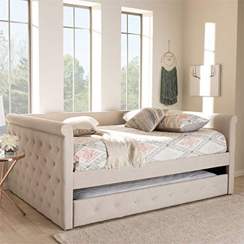 Amazon.com: Baxton Studio Alena Light Beige Fabric Queen Size Daybed with Trundle: Kitchen & Dining
