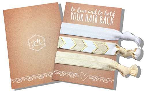 Jeune Marie 12 Pack Gold Ribbon Hair Ties KIT No Crease Elastics Handtied Ouchless Ponytail Holders Hair Band Bracelet Favors for Bachelorette Parties, Bridal Showers, and More! (12 Pack, Gold)]()