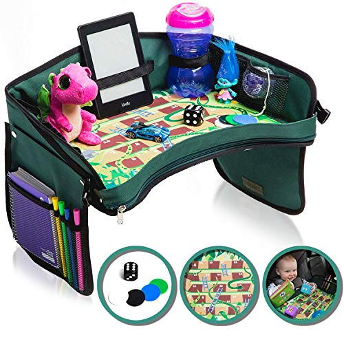 Soft Travel Tray - Premium Kids Car Seat Tray - Bonus SNAKES + LADDERS Game & Dice | Reinforced Base + Walls | Detachable Kids Travel Tray | Portable Toddler Travel Activity Tray | Foldable Baby Car Tray For Kids In Car