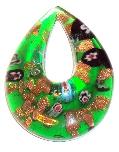 Teardrop Lampwork Glass - Green Millefiori Gold Sparkle 52mm Teardrop Donut Lampwork Glass Pendant