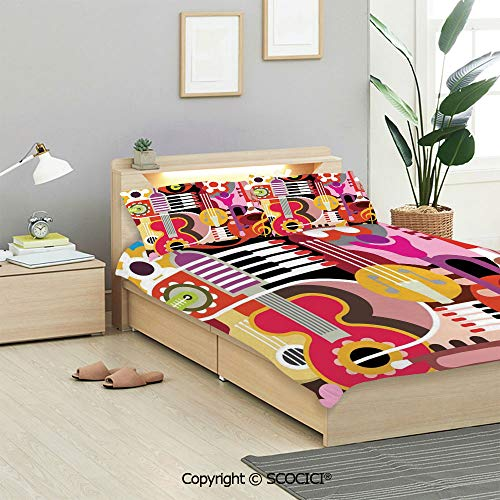 SCOCICI Music Decor Bedding Sets (1 Duvet Cover 2 Pillow Shams) Complex Graphic with Various Musical Properties Icons Keyboard Festival Piano Party Art Design Duvet Cover Sets Kids/Twin/Single (Hero Family Of The Year Piano Sheet Music)