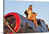 Christian Kieffer Gallery-Wrapped Canvas entitled 1940's style aviator pin-up girl posing with a vintage T-6 Texan aircraft