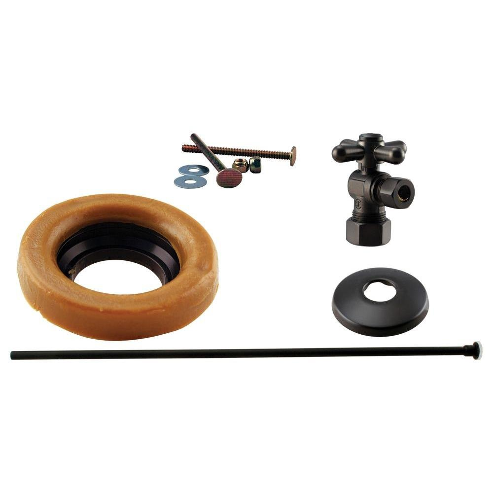 Westbrass 1/2'' Nominal Compression Cross Handle Angle Stop Toilet Installation Kit with Annealed Brass Supply Line, Oil Rubbed Bronze, D1614TBX-12 by Westbrass