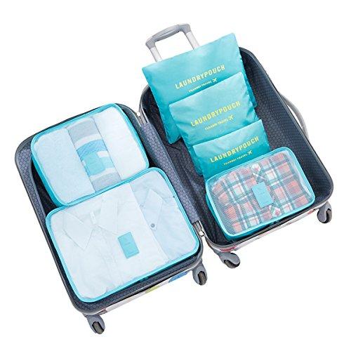 6 Set Travel Luggage Packing Cubes Space Saver Storage Organizer Bags (Blue) ()