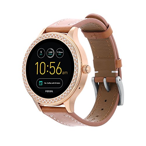 Full Grain Leather Watch band for Fossil Q Ventrue,18MM Genuine Leather Band with Quick Released Pins For Q Venture Smartwatch-Brown