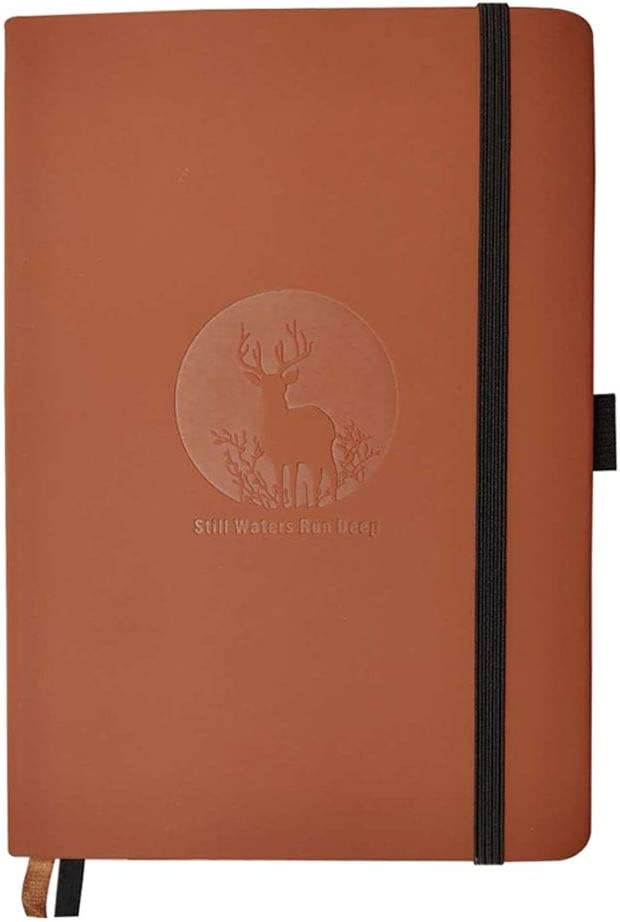 Thick A5 Dotted Notebook,5.7 x 8 inches Faux Leather PU Hardcover Journal with Elastic Closure Band+Penholder+Bookmark+Inner Pocket,192 Pages (brown)