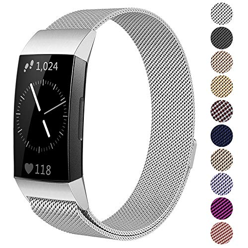 Kuxiu Replacement Bands Compatible for Fitbit Charge 3/ Charge 3 SE Fitness Activity Tracker, Small & Large Milanese Loop Magnetic Stainless Steel Wristband for Women Men (Silver, S(5.1-7.7))