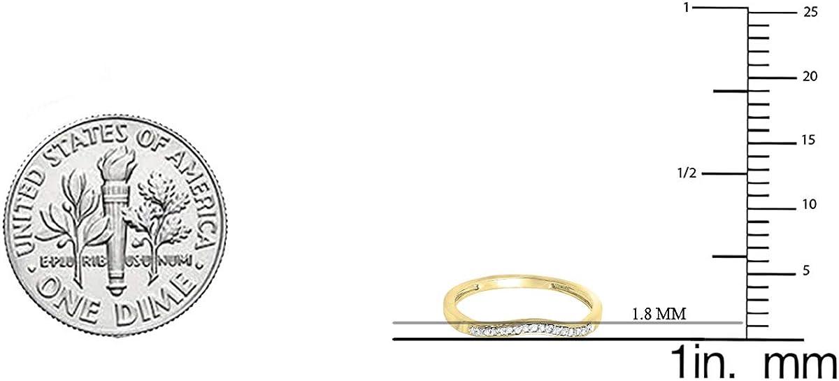 14K Gold Dazzlingrock Collection 0.10 Carat ctw Round White Diamond Ladies Wedding Guard Band Ring 1//10 CT