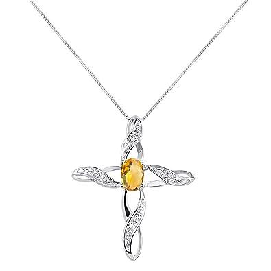 Amazon diamond citrine cross pendant necklace set in sterling diamond citrine cross pendant necklace set in sterling silver 925 with 18quot aloadofball Gallery