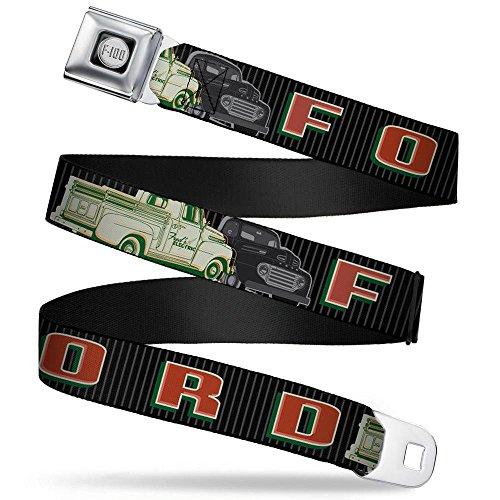 Buckle-Down Seatbelt Belt - FORD/Classic Ford Trucks Vertical Stripe Black/Grays/Green/Red - 1.5