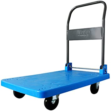 Carretilla Plegable de 4 Ruedas Carro de Mano Carretilla elevadora Plegable carros de plástico Carretilla de Carga Industrial 150 KG (Color : Blue): ...