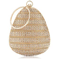 Gold-H Round Ball Clutch With Rhinestone Tassles & Ring Handle