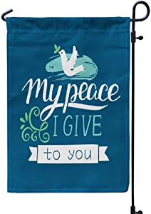 GANKE Jesus Garden Flags Lettering Peace I Give You Christian Scripture Yard Flags Front Porch Decor 12X18 Inches Double Sided Printing Waterproof Flags Turquoise