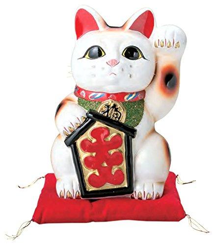 国産 常滑焼 招き猫 白大入猫 左手 10号 座布団付き 765-22-904 B00TYK4TMW10号