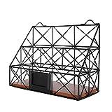 VANRA Metal Wire Hanging Magazine File Holder Bin 2 Slot Desktop Storage Organizer Rack Stand Wall Mounted with Chalkboard Label (Black)