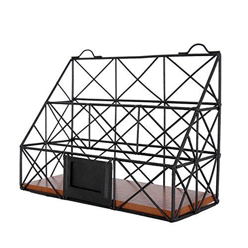 Vanra Metal colgante de alambre revistero soporte organizador de almacenamiento de computadora de rack soporte de la ranura...