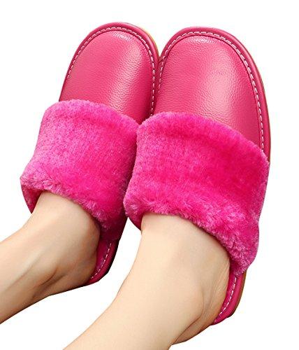 Cattior Femme Doublée De Fourrure Pantoufles En Cuir Pantoufles Furry Rose Rouge