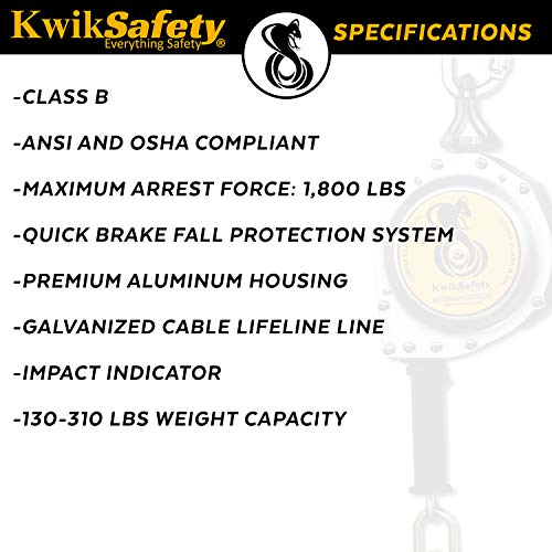 KwikSafety (Charlotte, NC) 20' COBRA Self Retracting Lifeline | Cable | ANSI Class B SRL w/Steel Carabiner Locking Clip Snap Hook | Roofing Construction Personal Fall Arrest Protection Safety Yoyo by KwikSafety (Image #5)