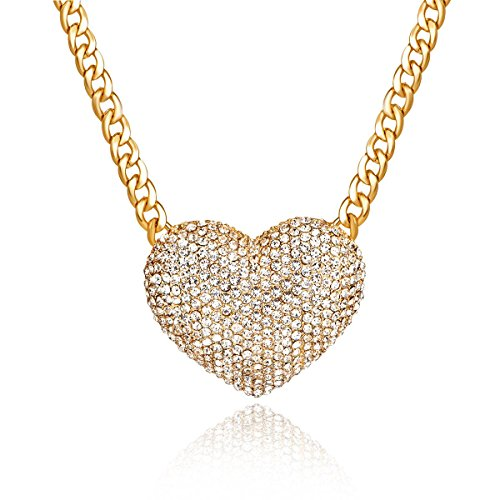 Qiji Women's Statement Sparkly Heart Necklace Blingbling Rhinestone Chunky Chain Necklace Punk Rock Style Costume Jewelry -