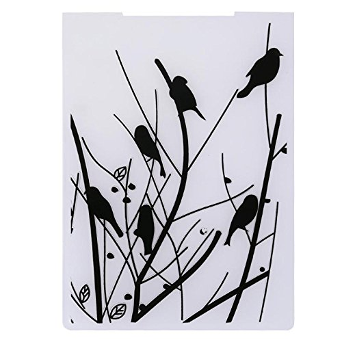 Embossing Folders - Black Birds Plastic Dots Embossing Folder Album Card Folders Template Cutting Dies - Borders Flowers Bricks Prime Companion Holder Tim You 5x7 -