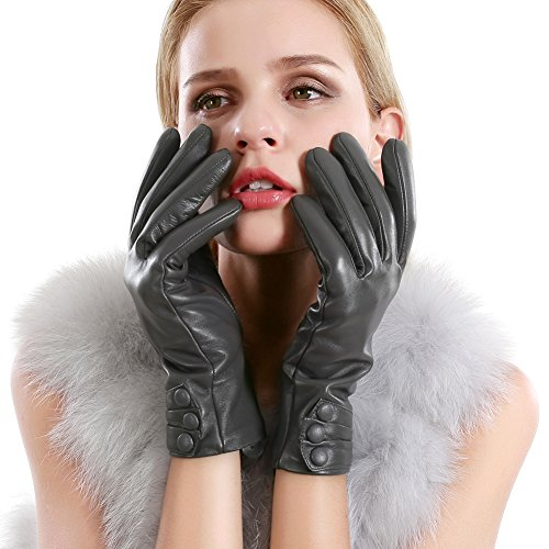 VEMOLLA Women's Touchscreen Texting Driving Winter Warm Genuine Leather Gloves with Cashmere Lining