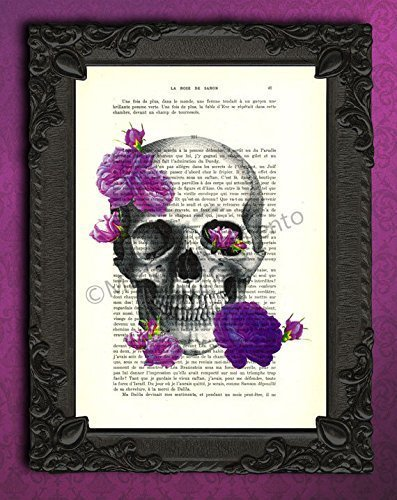 Skull and purple roses poster, mauve flowers gothic wall art