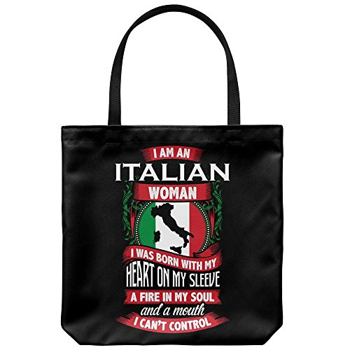 Tote Bag Italy Themed - Italian Woman Casual & Big but Stylish Poplin Shoulder Handbag for Work & Travel But I Italian Handbag