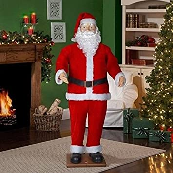 amazoncom life size animated dancing santa with realistic face home kitchen