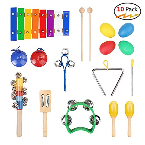Ruby Herty Musical Instruments Set with Xylophone for Kids - 10 Pcs.Toddler Wooden Toy Rhythm Band Percussion Set with Carrying Bags by Ruby Herty