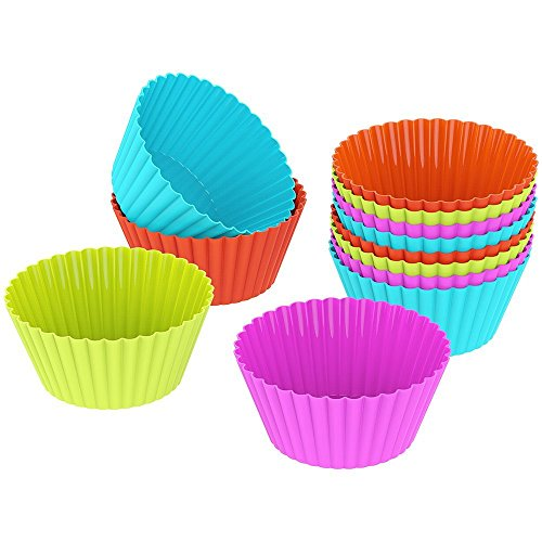 OliaDesign Silicone Cupcake, Muffin and Cake Baking Cup Liners Molds Sets (24 Pack), Multicolored by OLIA DESIGN