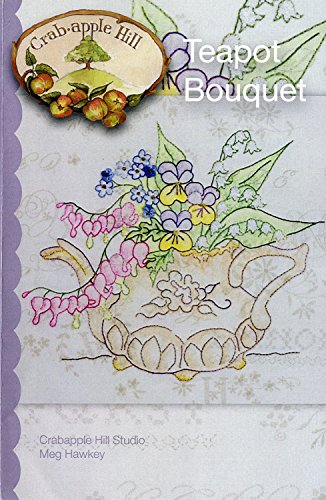 279 Tea - Teapot Bouquet Embroidery Pattern by Meg Hawkey From Crabapple Hill Studio #279 - 8