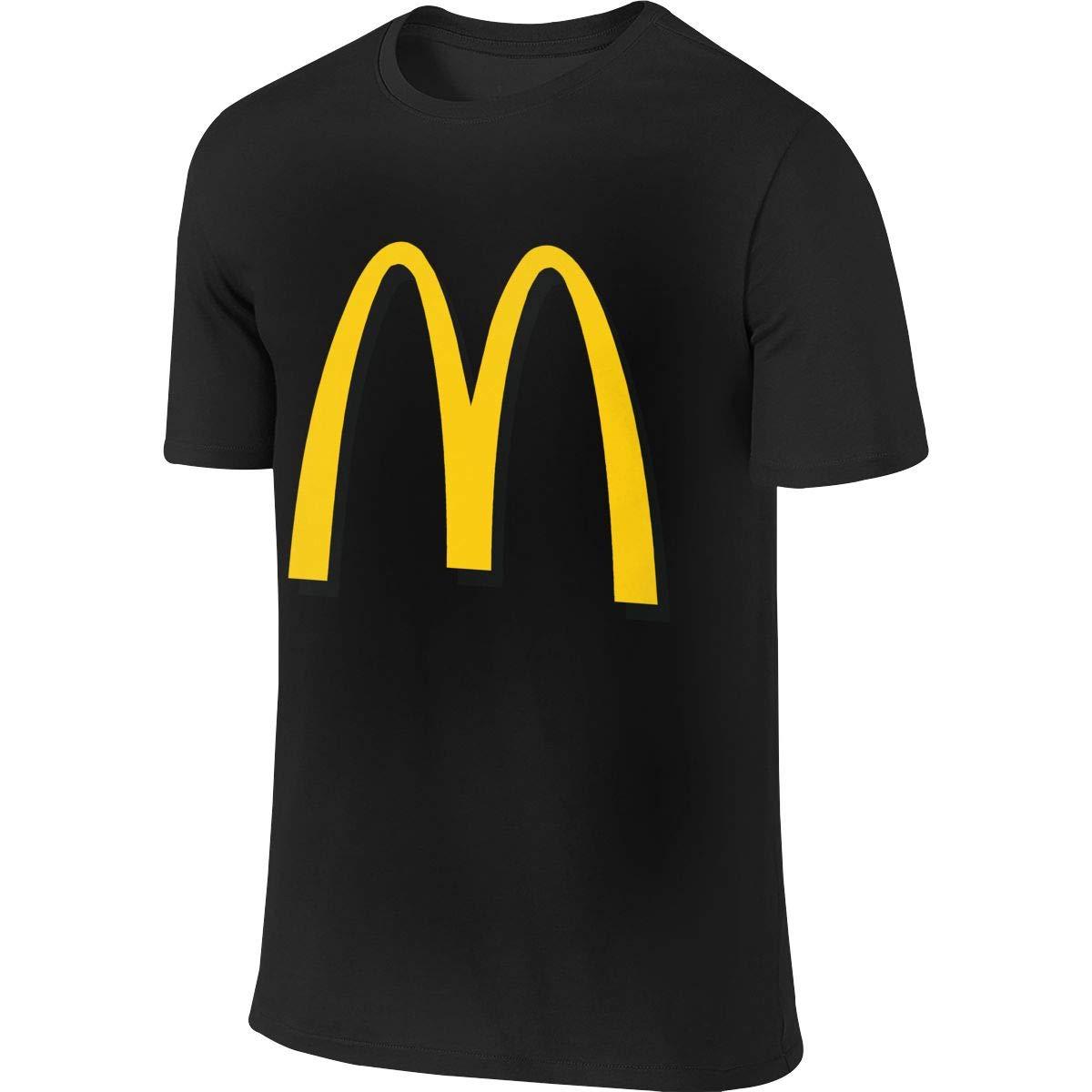 Men's Youth Boys McDonalds Logo T Shirt T-Shirt Summer Short-Sleeve Round Neck Shirts Cotton Sport Tops S Black