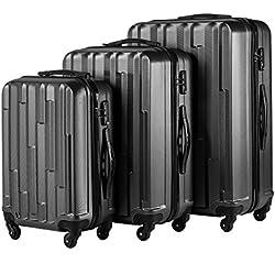 Mtop Luggage Suitcase 3 Piece Set with Lock Spinner Hardshell Lightweight (Black)