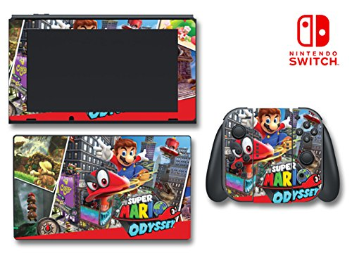 Super Mario Odyssey Cappy Princess Peach Bowser Video Game Vinyl Decal Skin Sticker Cover for Nintendo Switch Console System