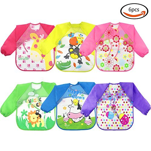 WXBOOM 6pcs baby waterproof sleeved bid apron kids Smock for 1-3 Years old Infants