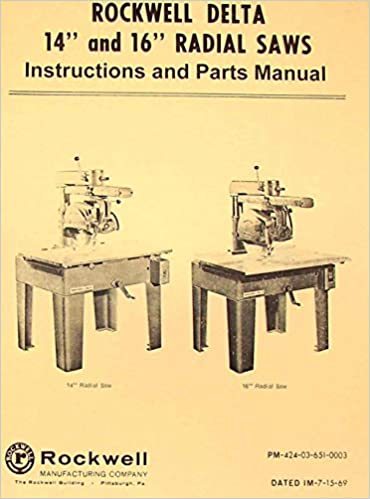 Rockwell 14 16 Radial Arm Saw Parts Manual Misc