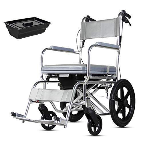 - NESSTIC Toilet Chair 4 in 1 Wheelchair Foldable Commode Seat with Padded Cushion PU Transport Mobile Chair Portable Bedside Commodes Shower Bath Chair with Wheel for Elder Disabled Pregnant (Gray)