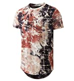 YININF Mens Hipster Hip-Hop Premiun Tees - Stylish Longline Latest Fashion Print T-Shirts (XX-Large, Brick red)