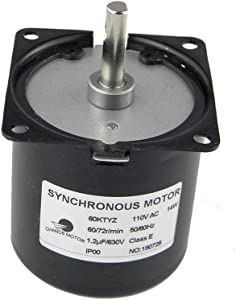 CHANCS 60KTYZ AC Synchronous Syn Motor 110V 60/72RPM CW/CCW 14W Low Noise Electric Motor